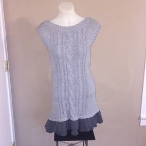 ANTHROPOLOGIE MOTH Cable Grey Sweater Dress